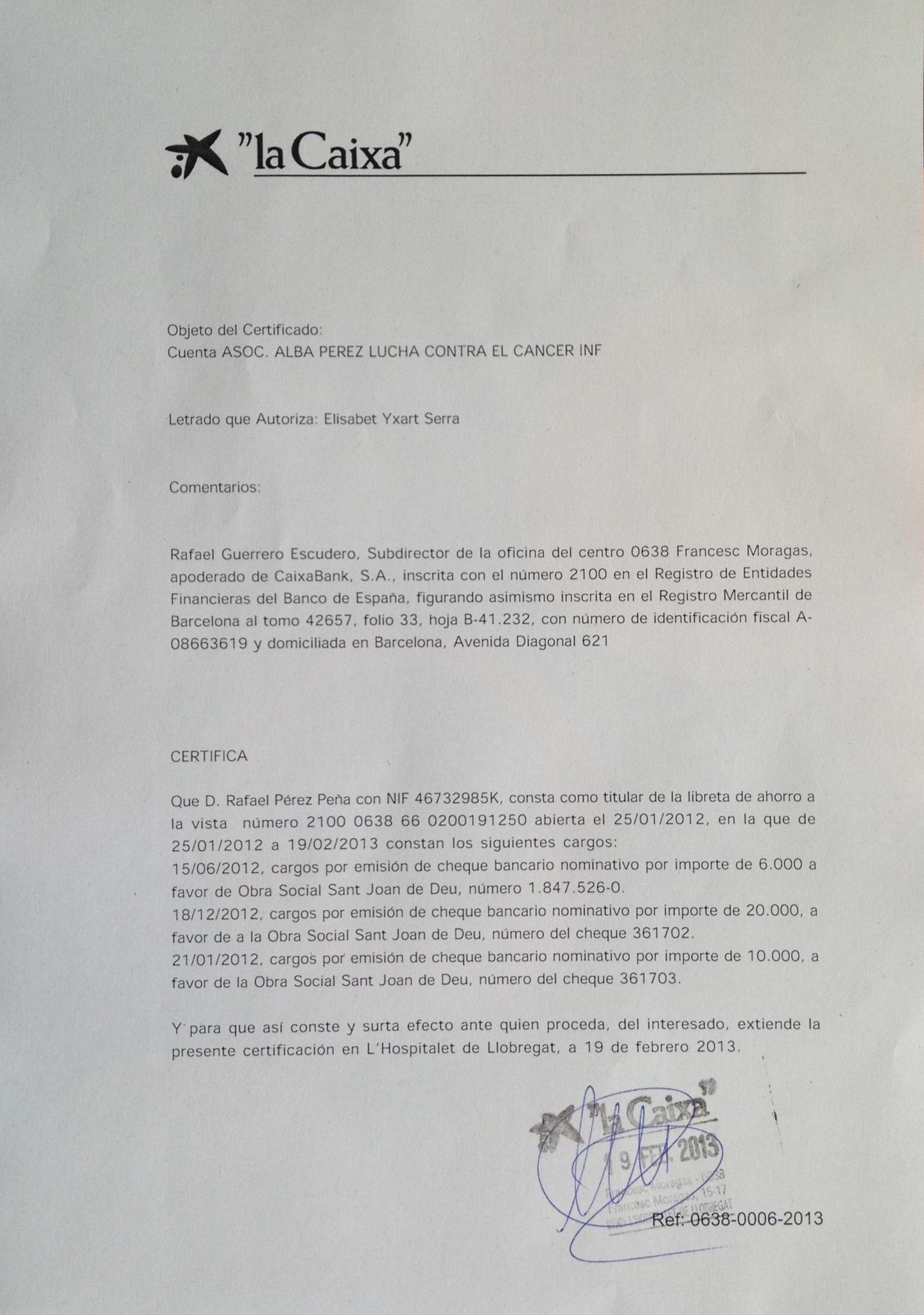 Certificado del gabinete jur dico de la caixa fundaci n - Numero oficina la caixa ...